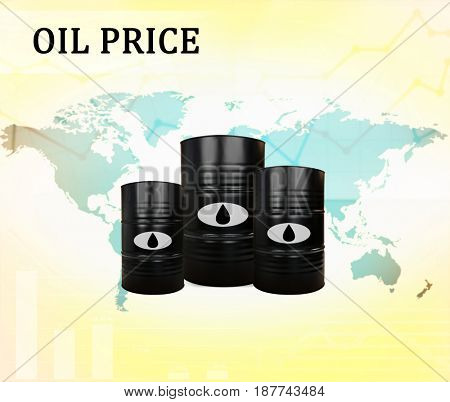 Oil prices concept. Barrels of black gold and world map on background