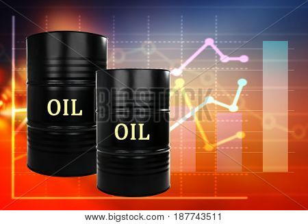 Oil prices concept. Barrels of black gold on color background