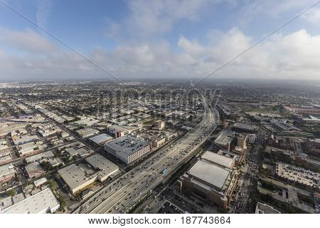 Los Angeles, California, USA - April 12, 2017:  Aerial view of Harbor 110 Freeway with afternoon clouds.