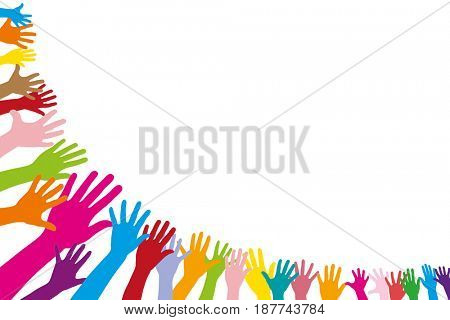 Background with many colorful hands in half circle as a frame
