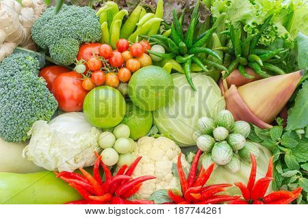 Different raw vegetables background Healthy eating organic vegetables herb