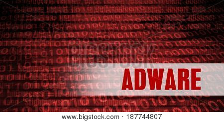 Adware Security Warning on Red Binary Technology Background