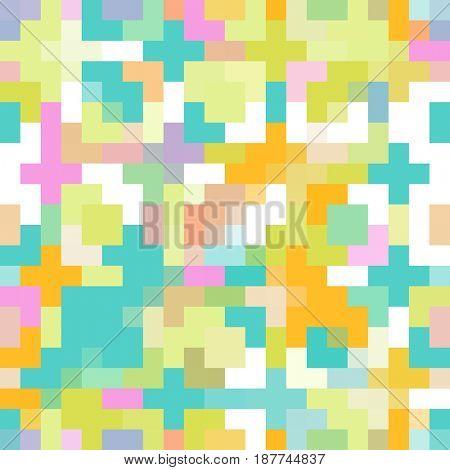 Colorful Pixel Pattern Seamless Background Art
