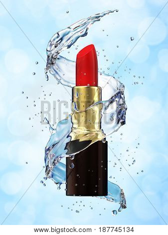 Red lipstick in a water splash on a blue background. 3d rendering