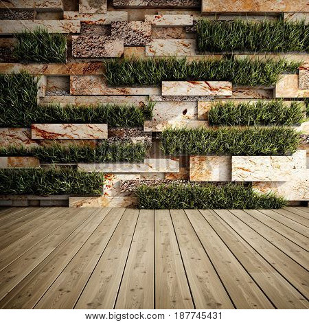 Interior of decorative stone wall with vertical gardens. 3D illustration.