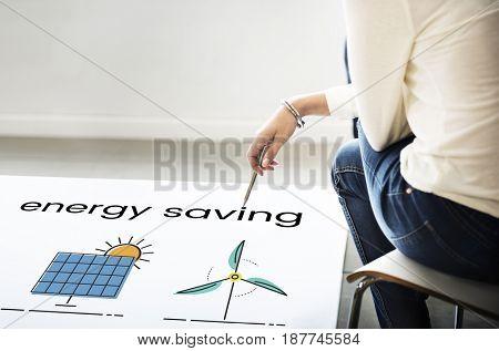 Hand working on billboard network graphic overlay on floor