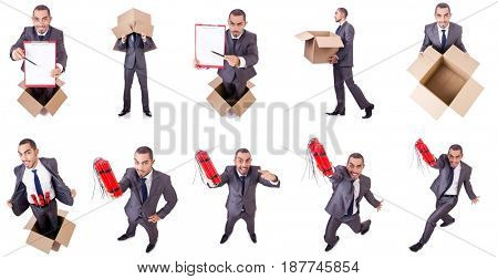 Businessman standing in the box isolated on white