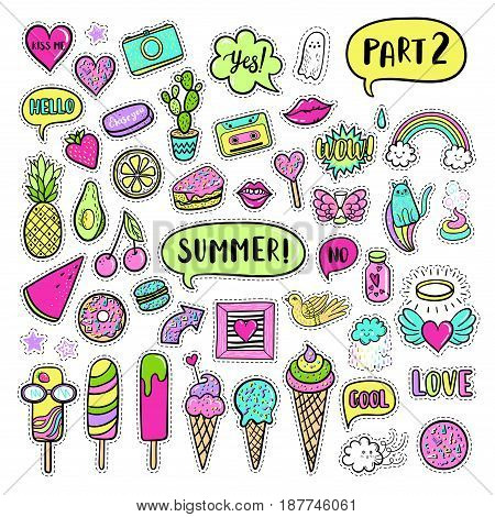 Vector Hand Drawn Summer Fashion Patches: Ice Cream, Cactus, Watermelon, Camera, Rainbow, Cat, Cloud