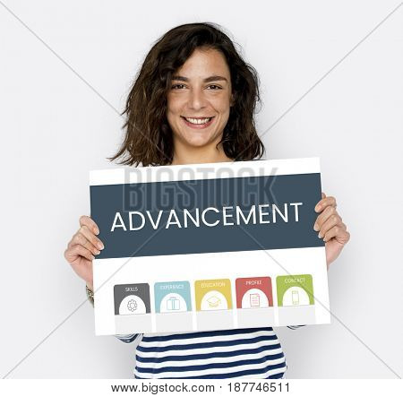 Young Woman Holding Advancement Word Advertisement