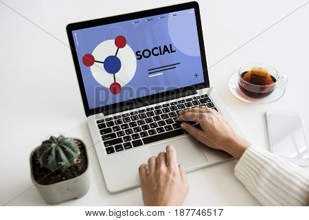 Laptop connected with social network online community