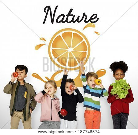 Fresh Nature Orange Organic Fruit Graphic