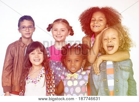 Group of children standing and posing