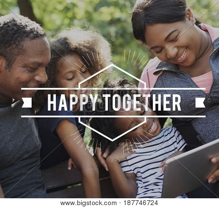 Family Happy Together Quality Time Word Graphic Banner