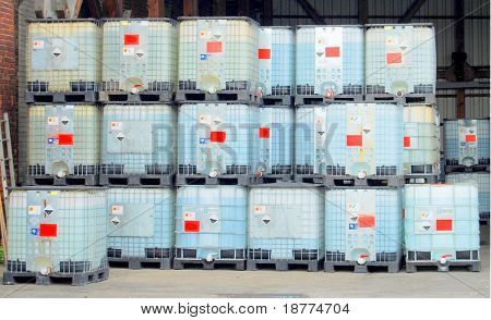 Chemical container in a warehouse