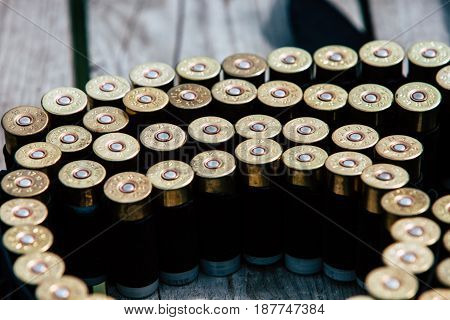 Bullets for the gun lie on a wooden table.