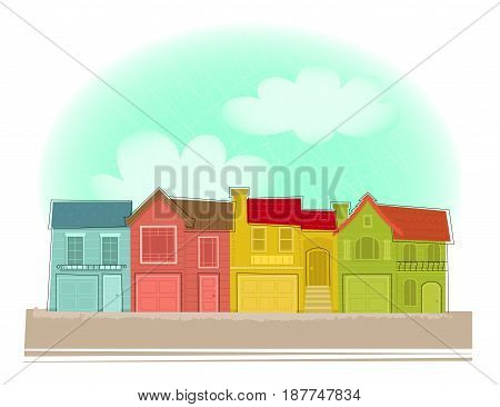 Clip art of colorful row houses under blue sky. Eps10