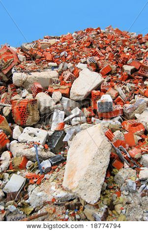 Pile of brick stone waste of a demolished building