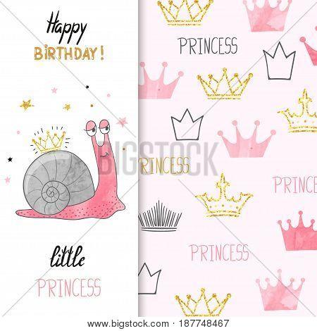 Birthday card design for little girl. Vector illustration of cute little princess snail.