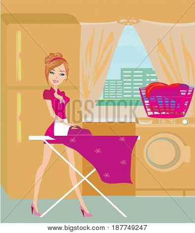 Housewife ironing clothes at home , vector illustration