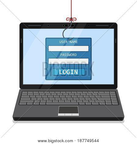 Phishing via internet vector concept illustration. Hacking personal information through website.