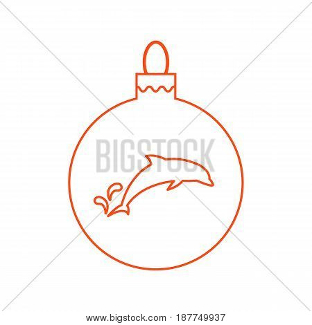 Vector Icon Christmas Ball With Silhouette Of Dolphin In Trendy Linear Style.