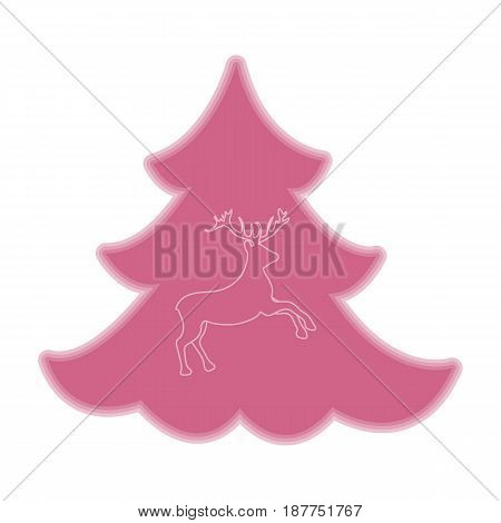 Cute Illustration On Christmas Or New Year's Theme. Deer Silhouette Against The Background Of The Ch