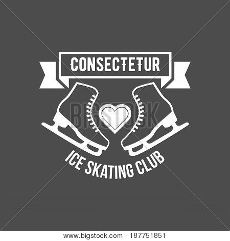 Ice Skate label logo design. Ice skating boot, speed scating, figure skating. Winter sports. Old school sport logo. Monochrome badges.