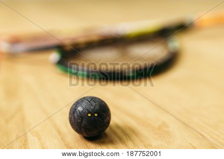 Squash game concept,  racket and ball closeup view