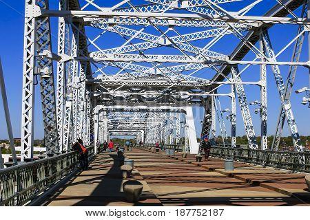 Nashville, TN, USA - 04/05/2015: The Shelby Street Bridge also called the John Seigenthaler Pedestrian Bridge over the Cumberland River in Nashville TN