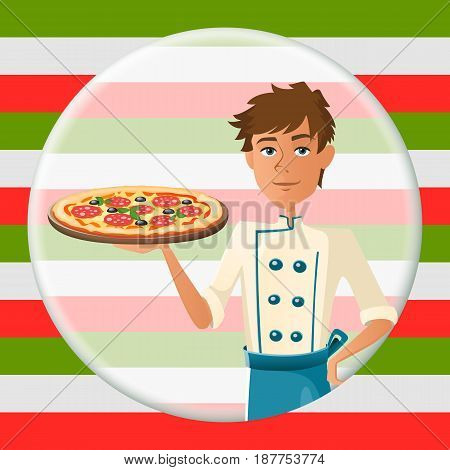 Italian cartoon cooker with pizza with salami. Vector illustration