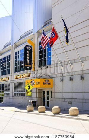 Nashville, TN, USA - 04/05/2015: The Bridgestone Arena building on 5th Ave S in downtown Nashville Tennessee