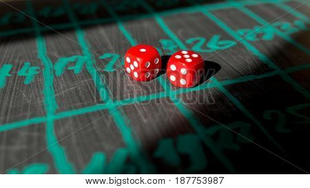 Two red dices for gambling close up