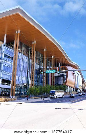 Nashville, TN, USA - 04/05/2015: Music City Center building on Demonbreun Street in Nashville TN