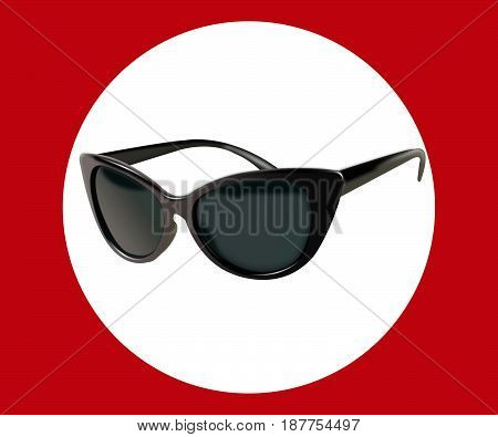 black glasses isolated on white background. the icon with black sun glasses