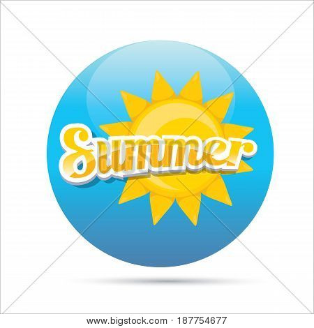 beautiful summer illustrations . vector summer label. summer icon with sun. Stylized design element. Background design for banner, poster, flyer, cover, brochure. Logo design.