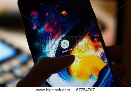Russia Moscow May 23 2017. Application on the smartphone screen. Payment service Android Pay will work in Russia on May 23