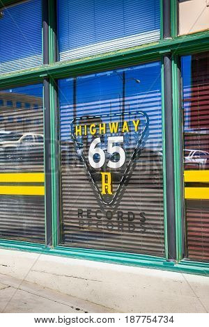 Nashville, TN, USA - 04/05/2015: Highway 65 Records building window sign part of the Nashville tv program set making Nashville the place to be