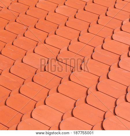New Red Roof Tiling, Close-up Square Background