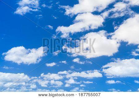 White Cumulus Clouds In Blue Sky, Natural Photo