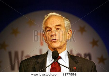 "WASHINGTON DC – OCT 19: Representative Ron Paul speaking at ""Washington Briefing 2007: Values Voter Summit"" on October 19, 2007, at the Hilton Hotel in downtown Washington DC."