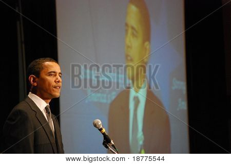 MCLEAN, VA - NOV 30, 2007: Senator Barack Obama speaking at the Democratic National Committee (DNC) meeting on November 30, 2007, in McLean, Virginia.