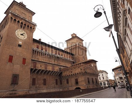 Castle of Ferrara (Italy) seen from Course Martyrs of Freedom.