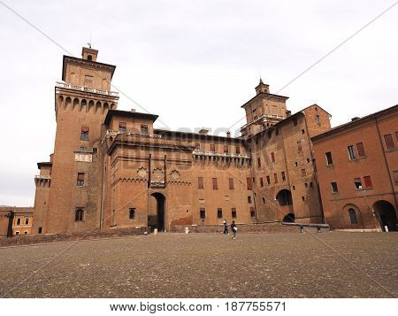 Castle of Ferrara seen from Castle Square, Italy