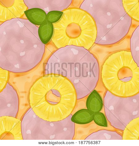 Hawaiian pizza. Delicious pizza seamless pattern with ham, cheeses, pineapple and basil. Vector Illustration.