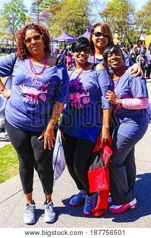 Nashville, TN, USA - 04/05/2015: African-American women taking part in the Sista Strut cancer walk at the Bicentennial Capitol Mall State Park in Nashville