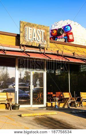 Nashville, TN, USA - 04/04/2015: Bongo Java East simple food restaurant on 11th Street in East Nashville