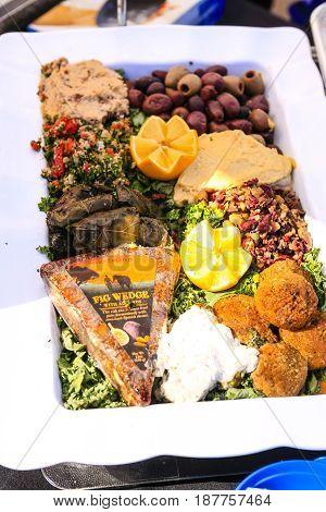 Punta Gorda, FL, USA - 01/16/2016: Food platter on display at a gourmet food exhibition in Punta Gorda FL