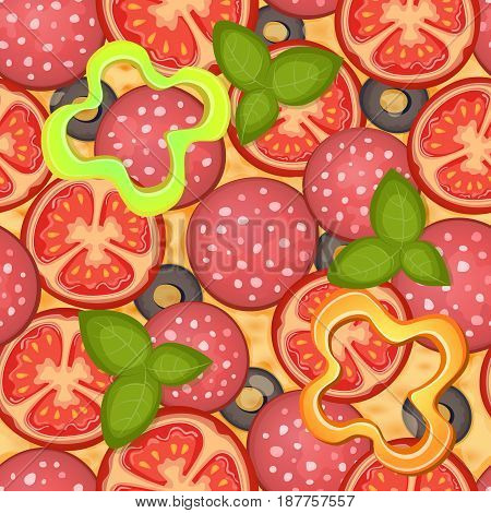 Delicious pizza seamless pattern with pepperoni, olive, cheese, tomato, mozzarella and basil. Vector Illustration