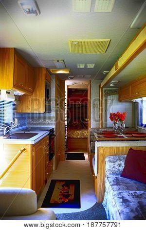 Arcadia, FL, USA - 10/17/2015: Interior of a 32ft Class A motorhome