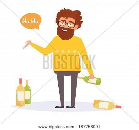 Drunk man. Isolated art on white background. Vector. Cartoon Flat